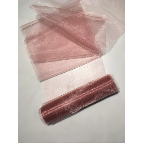 Rolka organza 15 cm x 9 m kolor brudny róż
