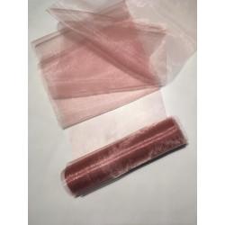 Rolka organza 37 cm x 9 m kolor brudny róż