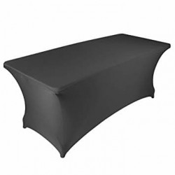 Pokrowiec elastyczny na stół prostokątny cateringowy 220 cm x 74 cm kolor czarny